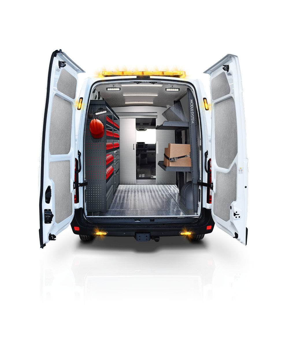 3D visualization of a white van with open doors from behind with Modul-System racking kit inside