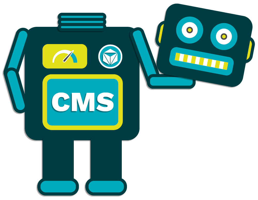 Illustration of Parttrap Headless CMS robot holding its head in its arms